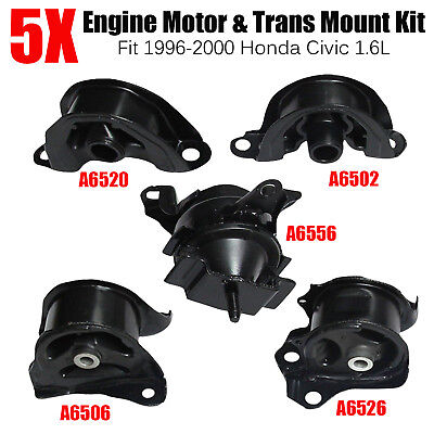 Set of 5PCS Engine Motor & Trans Mount Set Fit 1996-2000 Honda Civic 1.6L Black