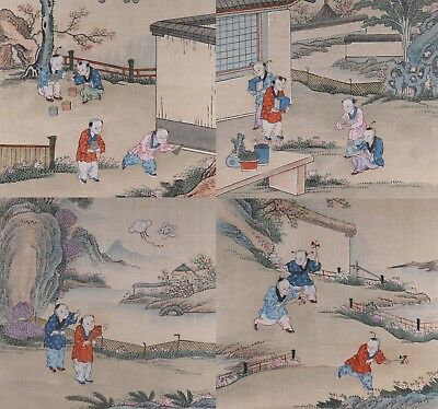 Set of Four Early 20th Century Chinese Paintings on Silk