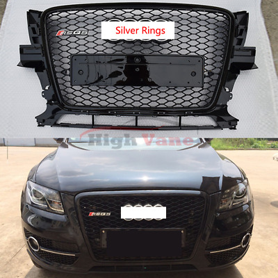 RSQ5 STYLE FRONT Honeycomb Black Grille Grill Silver Rings For AUDI Q5  2008-2012