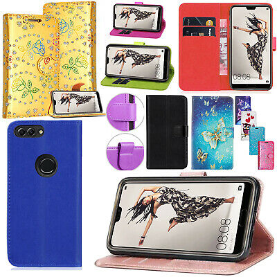 For Huawei P Smart & Honor 9 Lite Premium Leather Wallet Flip Stand Case cover