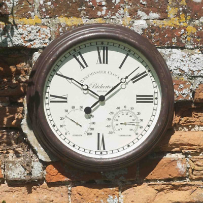 Smart Garden Outside In Designs Bickerton Wall Clock & Thermometer 15 Inch