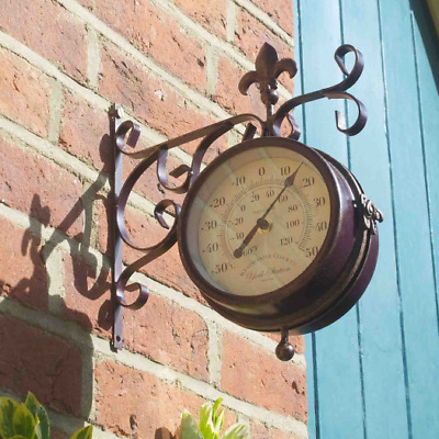 Smart Garden Outside In Designs Double Sided York Station Clock & Thermometer