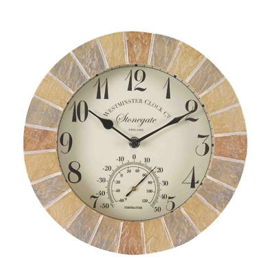 Smart Garden Outside In Designs Stonegate Wall Clock & Thermometer 10""