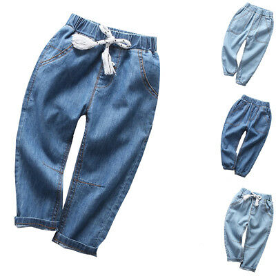 Boys Girls Jeans Spring Summer Denim Trousers Kids Children Pants Clothes