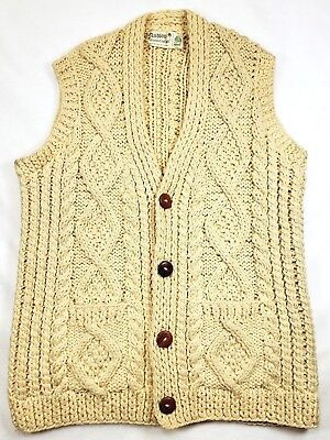 Andion 100% Pure Wool 4 Wood Button Cable Knit Sweater Vest XL Cream Ireland EUC
