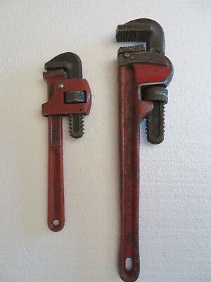 "Two Vintage Pipe Wrenchs Heavy Duty Plumbing Adjustable 14"" Germany & 10"""