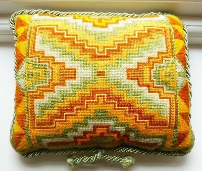 "VINTAGE TAPESTRY CUSHION GEOMETRIC YELLOW GREEN BROWN DESIGN CORD EDGED 11""x 9"""