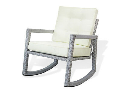 Patio Resin Outdoor Wicker Rocking ArmChair with Cushion
