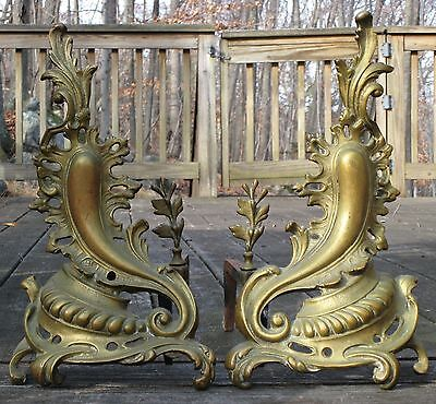 Antique 19th Century Bronze Brass French Louise XV Flames Fireplace Andirons
