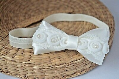 Ivory baby bow headband hair band bow baptism wedding pearl lace satin bow Fdh
