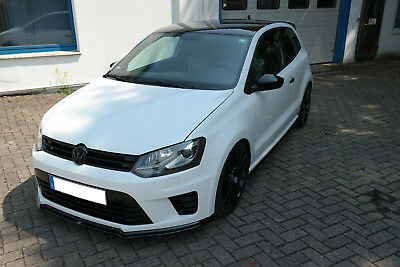 Cup Spoilerlippe Front Ansatz Diffusor Splitter Carbon Look VW Polo 6R WRC