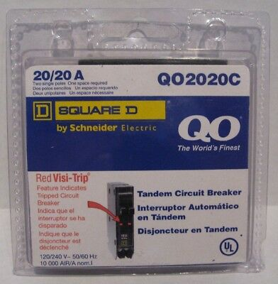 Square D by Schneider Electric QO2020C 20/20 A Two Single Poles NEW