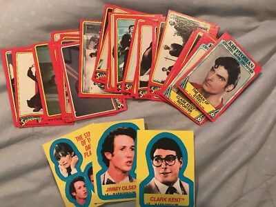 Superman 2 Trading Cards (Topps, 1980) 30 Cards and 3 Stickers