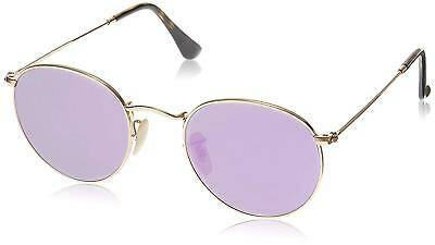 80233babe6 Ray-Ban RB3447N 001 8O Round Gold Frame Lilac Mirror 50mm Lens Sunglasses