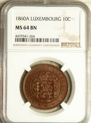 Ngc Ms-64 Luxembourg 10 Centimes 1860 (The Only One Graded In Ms!) Pop: 1/0
