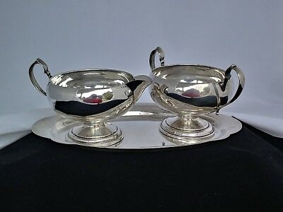 Sterling Creamer and Sugar Set with Tray. Ellmore Silver Co and Wallace Co.