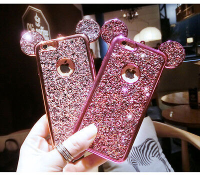 Bling Glitter 3D mouse ear Rhinestone Phone Case for iPhone XS Max XR 5 6 7 8