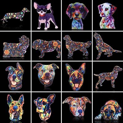 Charm Colorful Animals Dog Flowers Printing Brooch Pin Women Costume Jewelry