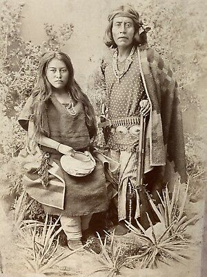 NATIVE AMERICAN  INDIAN Scout With Rifle ANTIQUE CABINET CARD PHOTO New Mexico