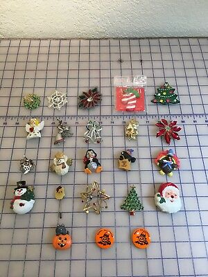 Lot of 23 Pieces Christmas Halloween & Thanksgiving Jewelry Brooches Pins Magnet