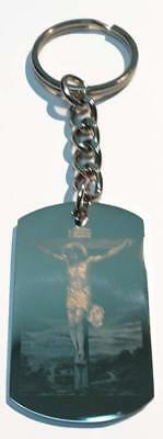 Christian Jesus Christ Cross Lord's Prayer Double Sided Metal Ring Key Chain