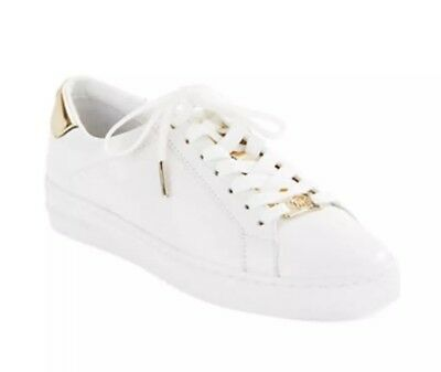 f427e5fa998e New Michael Kors Irving Lace-Up Sneakers Optic White Gold Leather Size 11M