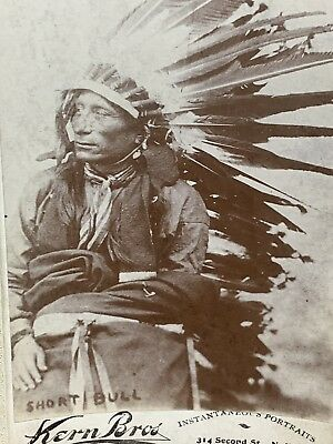 NATIVE AMERICAN SIOUX Indian Warrior Short Bull CABINET CARD PHOTO Fought Custer