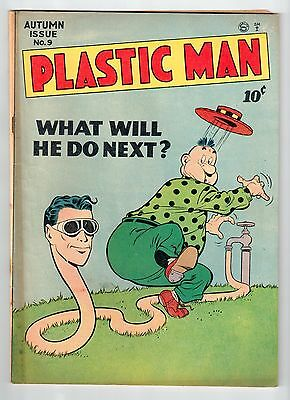 Quality PLASTIC MAN #9 Sept 1947 vintage comic VG+ condition