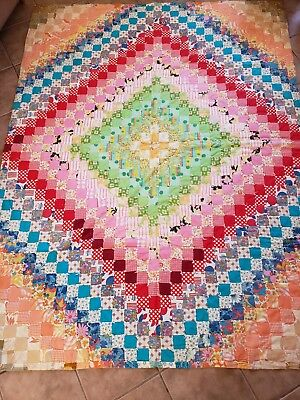 Antique Cross Square Unique RARE Hand Made Quilt - Vintage Colorful Patch