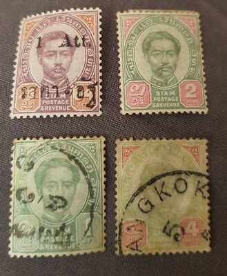 Thailand/Siam early used stamps x 4