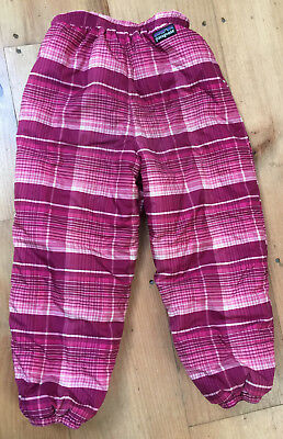 PATAGONIA Kids' Snow Pants Reversible Pink Plaid Fleece 4T Toddler