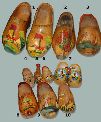 COLLECTION 12 DUTCH HOLLAND WOOD SHOES antique WWII to NEW estate  with basket