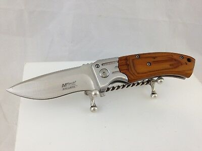 Mtech Usa Ballistic Pocket Knife Mt-A853 440 Stainless Steel Wood Grain Handle