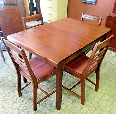 Antique Art Deco Dining Table with leaf and four chairs waterfall style