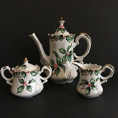 Vintage Lefton China Holly Garland Pattern Tea pot Sugar Creamer Set  Christmas