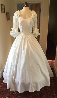 VINTAGE 1980's VICTORIAN STYLE PALE IVORY COTTON WEDDING DRESS BY LAURA ASHLEY
