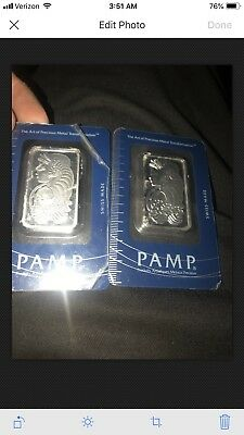 Lot of 2 - 1 oz PAMP Suisse Lady Fortuna Platinum Bar .9995 Fine (In Assay)