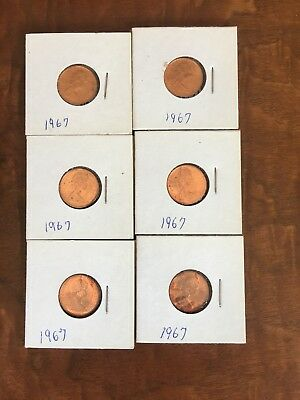 1967 Canada One Cent (Red) 6-Coins