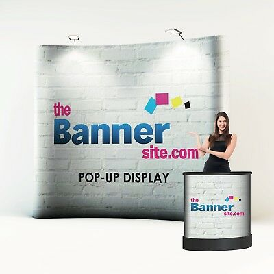 3x3 Popup Exhibition Stand, including design, lights, carry case.