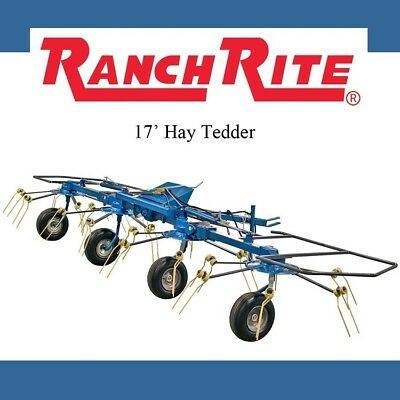 Ranch Rite Pull 4 Rotor Hay Tedder, 17' Working Width with PTO - FREE SHIPPING!!