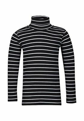 Girls Stripe Roll Neck Ribbed Knitted Cotton Longsleeve Jumper Tops. Ages:2-10yr