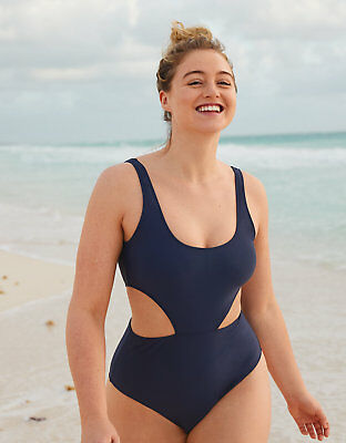 f94865475d5a3 American Eagle AERIE CUT OUT ONE PIECE SWIMSUIT Navy Large #0751-9332