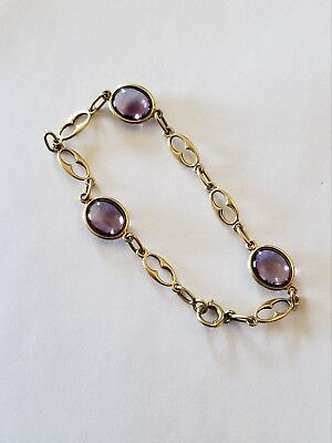 Antique Victorian HEAVY 14kt Yellow Gold & Amethyst Cabochon Bracelet, GORGEOUS!