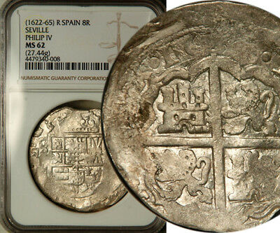 Ngc Ms-62 Spain Seville Silver Cob 8 Reales 1622-65 (Almost Full Date 166?) R!