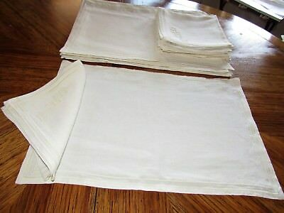 8 Vintage Cream Linen Placemats  With  8 Monogrammed Napkins