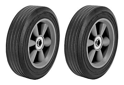 """Lot of 2 8"""" Inch Replacement Solid Rubber Tire & ABS Wheel for Dolly Hand Cart"""
