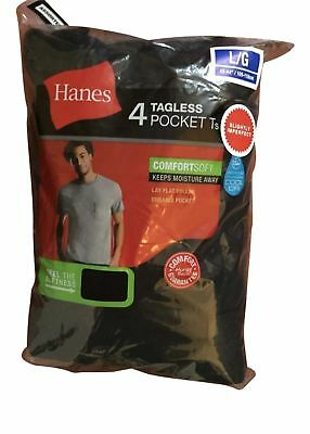 4 Pack Hanes Mens Pocket t Shirt sizes S - 3XL choose your Size & Color