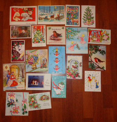 20 Vintage Mid Century Retro Christmas Cards 50s 60s (Used)