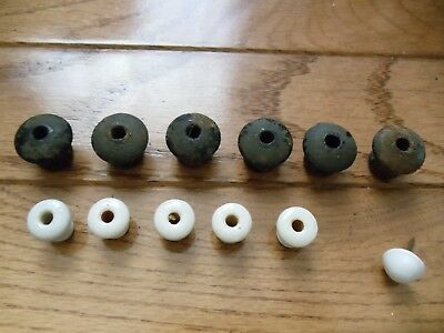 ANTIQUE Lot Spice Cabinet PORCELAIN-WOOD  KNOBS DRAWER PULLS Small 3/8-5/8 in