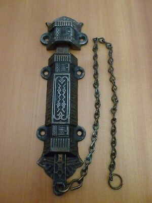 Antique original 1880's new old stock ornate victorian lock latch chain keeper